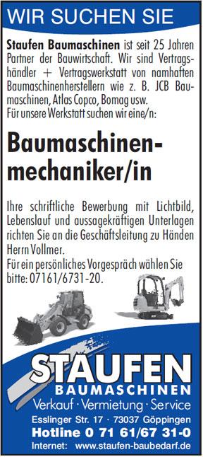 Baumaschinenmechaniker/in